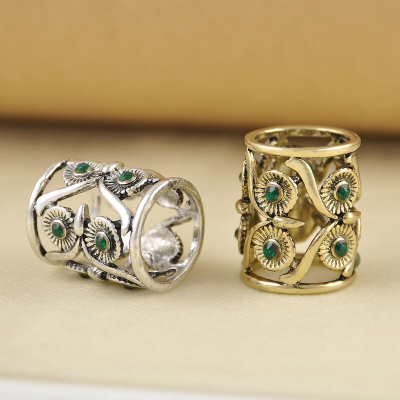 Vintage gothic punk style hollow flower knuckle retro long Vintage style fashion rings