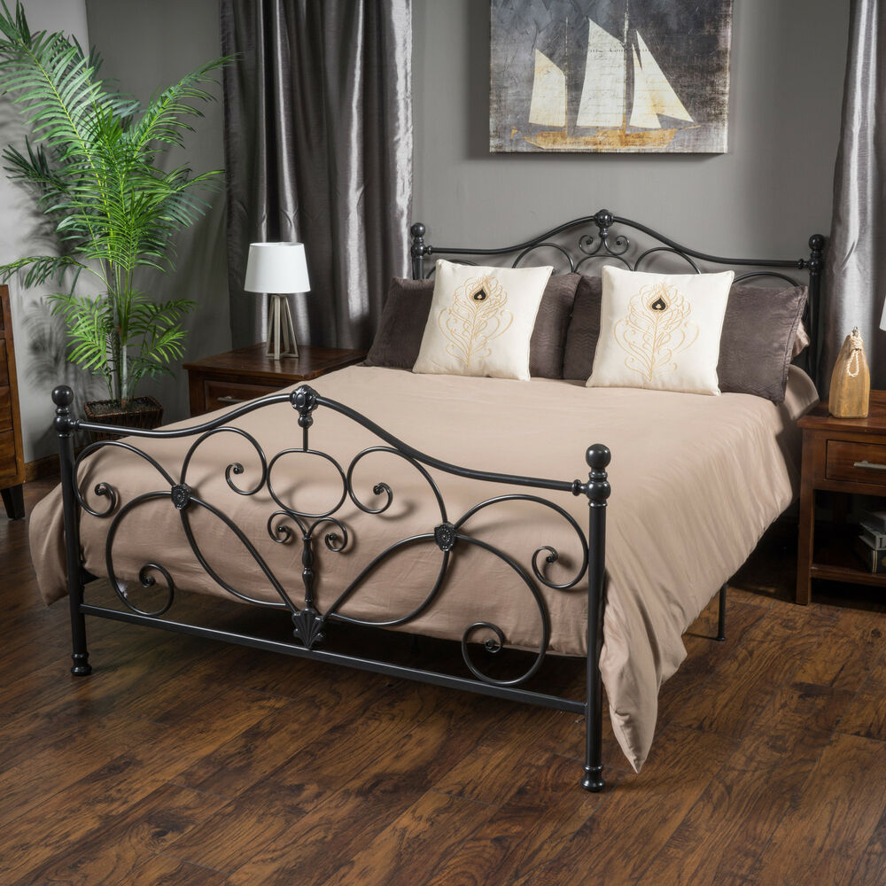 marcus king size metal bed frame by christopher knight home ebay. Black Bedroom Furniture Sets. Home Design Ideas