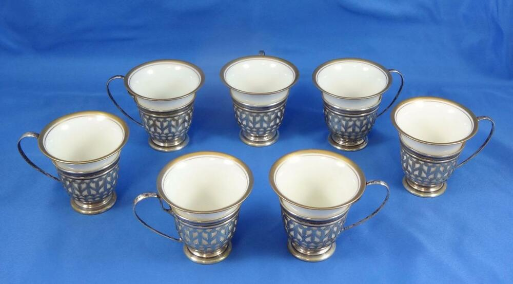 Set of Seven (7) Lenox Demitasse Cups with Gorham Sterling Holders | eBay