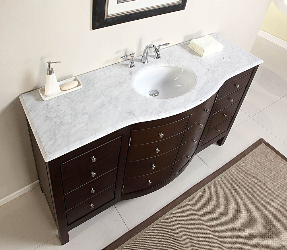 60 Large Single Sink Bathroom Vanity Marble Top Lavatory