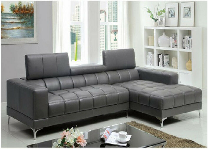 Bourdet Contemporary Gray Bonded Leather Sectional Set Living Room Furniture