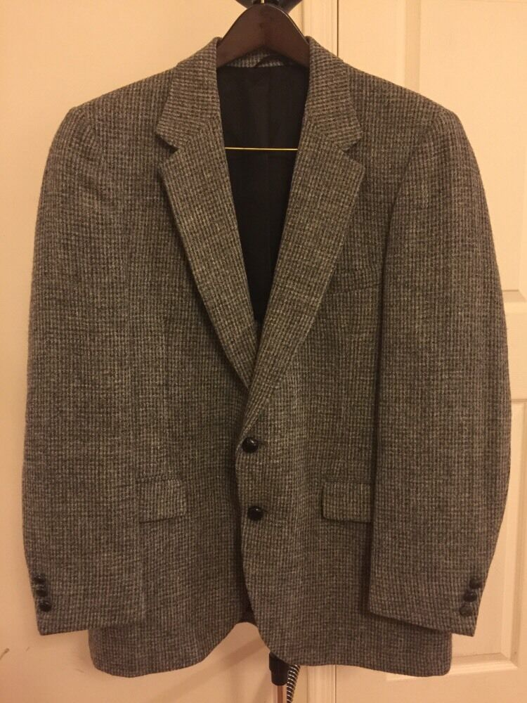 Mens Harris Tweed Gray Mix Two Button Sport Coat 42r Ebay