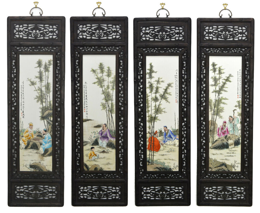 Large Set of 4 Chinese Famille Rose Painting Porcelain Wall Hanging ...