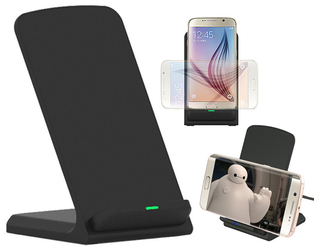 black 3 coil wireless charger stand desktop charging. Black Bedroom Furniture Sets. Home Design Ideas