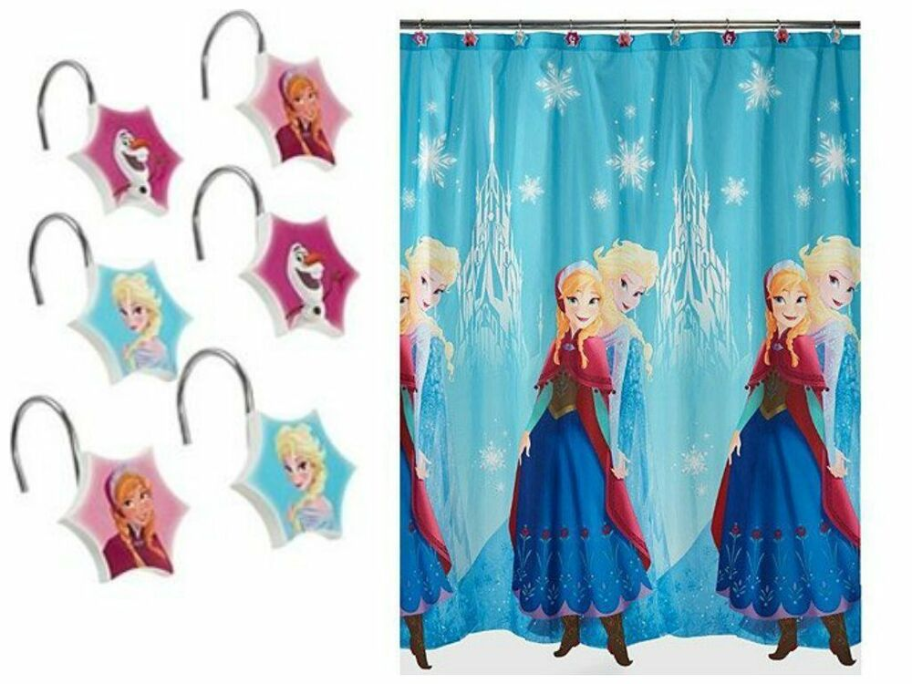 Disney frozen fabric shower curtain and hooks nip ebay for Anna s linens bathroom accessories