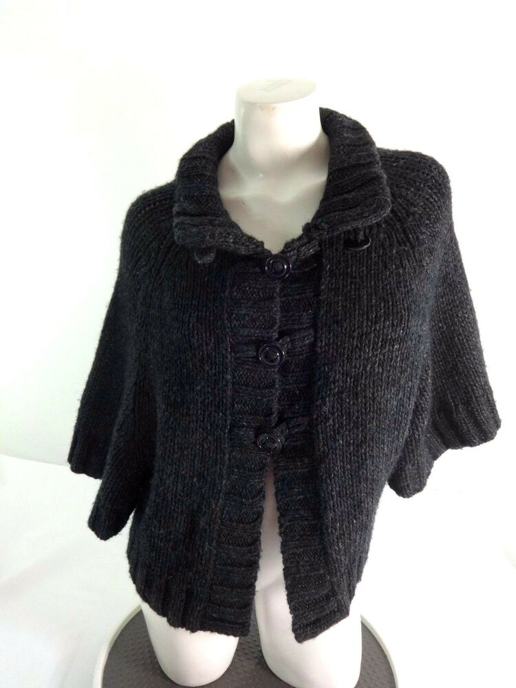 DRESSBARN WOMENS WOOL BLEND KNIT GRAY CARDIGAN SWEATER