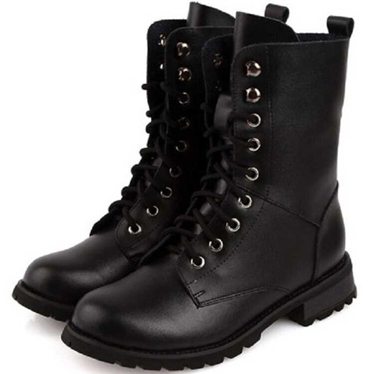 Wonderful  Rag American Rag Zack Women Faux Leather Black Combat Boot Boots