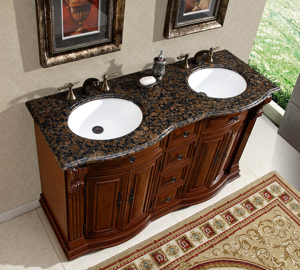 55 granite stone top bathroom vanity cabinet furniture double white sink 223bb ebay - Double bathroom vanities granite tops ...