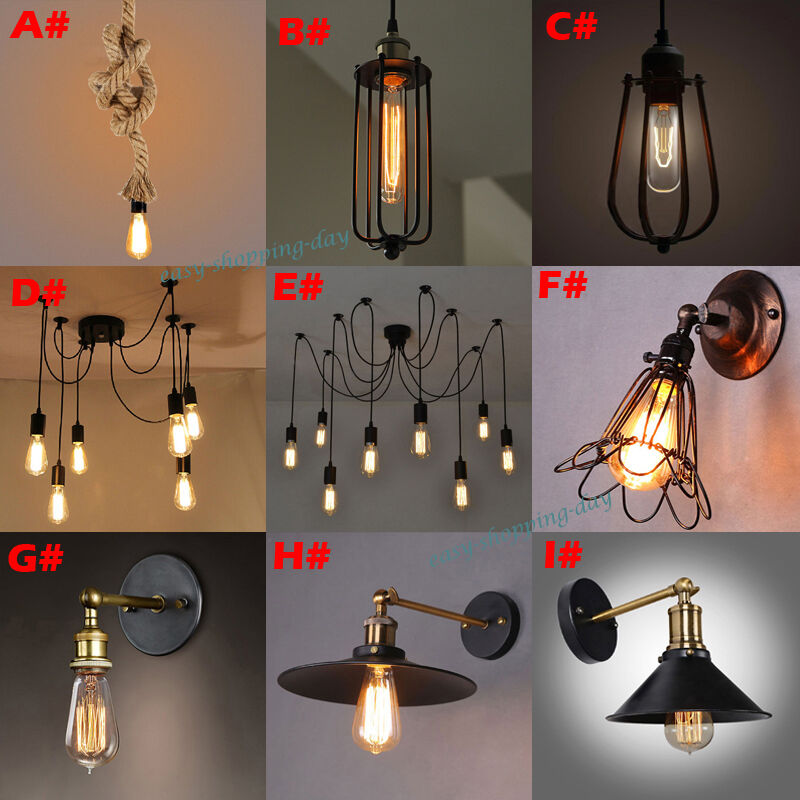 Vintage edison style industrial retro ceiling lighs for Hanging light bulbs diy
