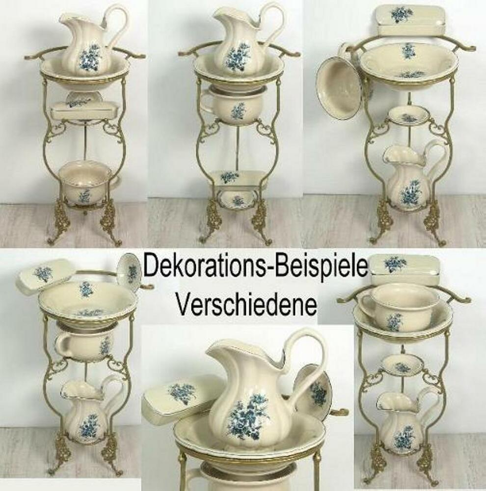 waschset mit st nder antik lavabo waschsch ssel krug seifenschale nachttopf blau ebay. Black Bedroom Furniture Sets. Home Design Ideas