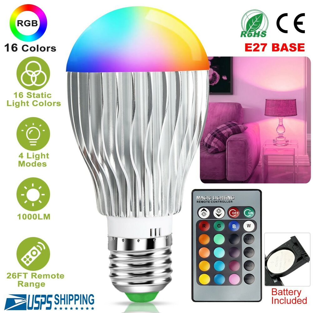 16 Colors Changing 9w Magic E27 Rgb Led Lamp Light Bulb Ir Remote Control Eds Ebay