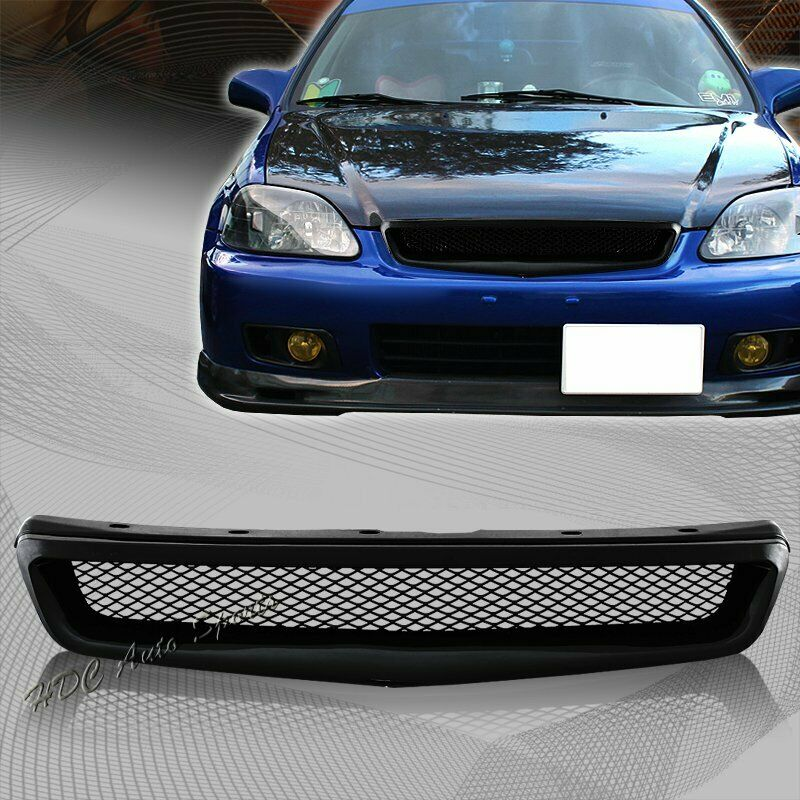 for 1999 2000 honda civic jdm type r black mesh abs front hood grille grill ebay. Black Bedroom Furniture Sets. Home Design Ideas