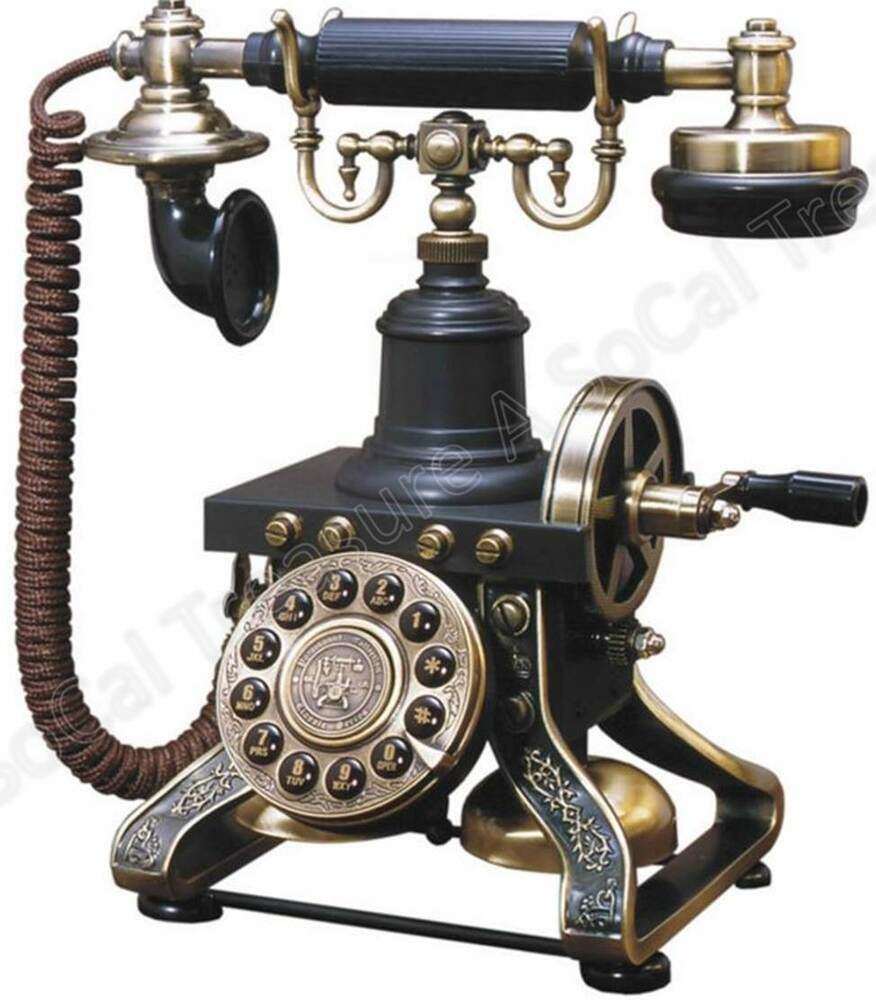old style phone telephone antique phone rotary style eiffel corded landline 870586000035 ebay. Black Bedroom Furniture Sets. Home Design Ideas