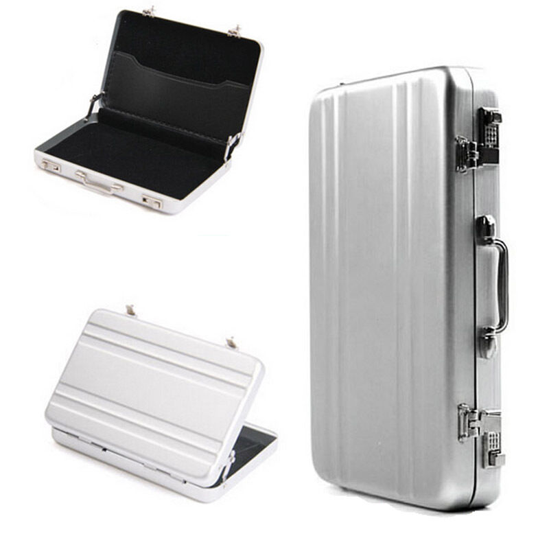 Aluminum metal password briefcase business id credit card for Briefcase business card holder