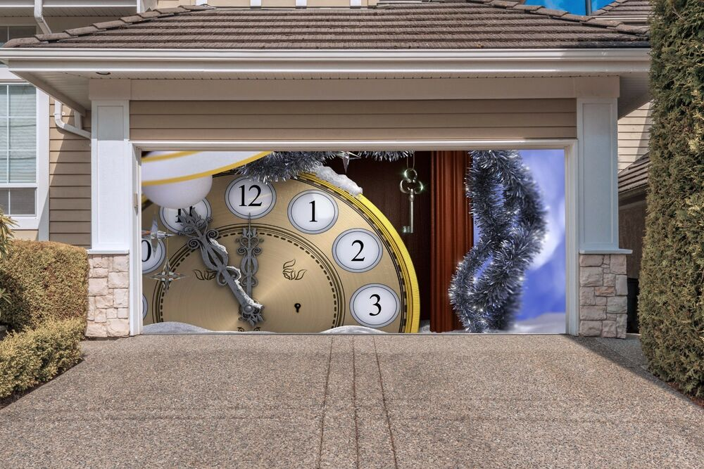 Christmas clock garage door covers 3d banners outside for Outside garage decorations