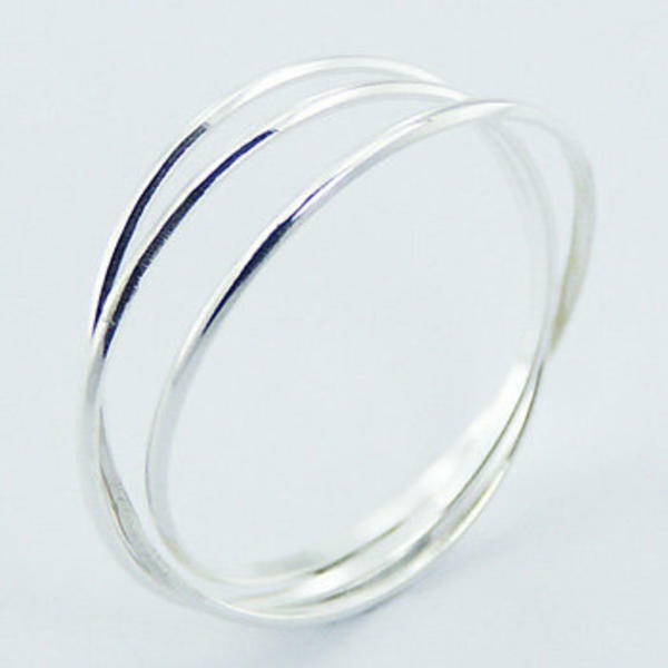 usa seller three band ring 925 sterling silver best price