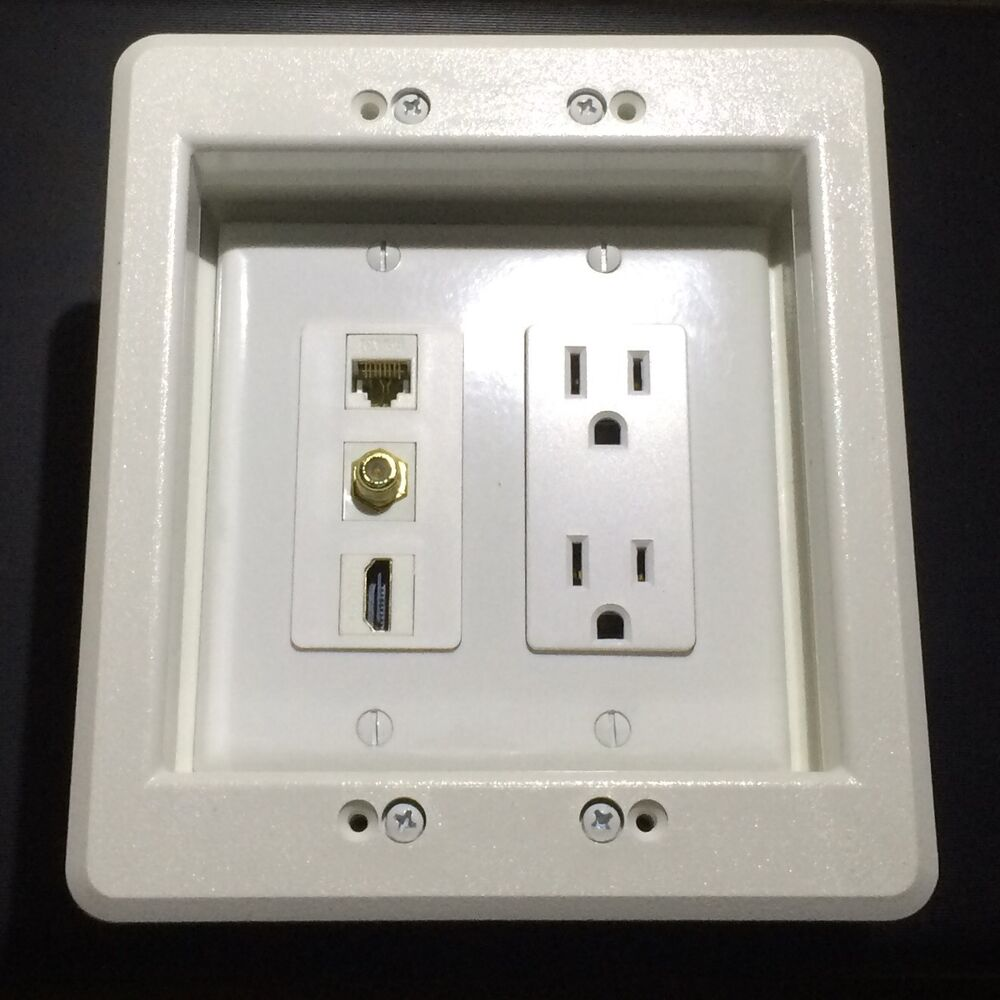 Hdtv Recessed Wall Plate Box 2 Gang 15a Power 1x Hdmi 1x