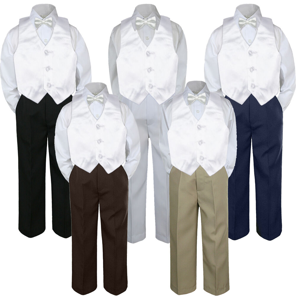 4pc boys suit set white shirt vest bow tie baby toddler for Baby shirt and bow tie