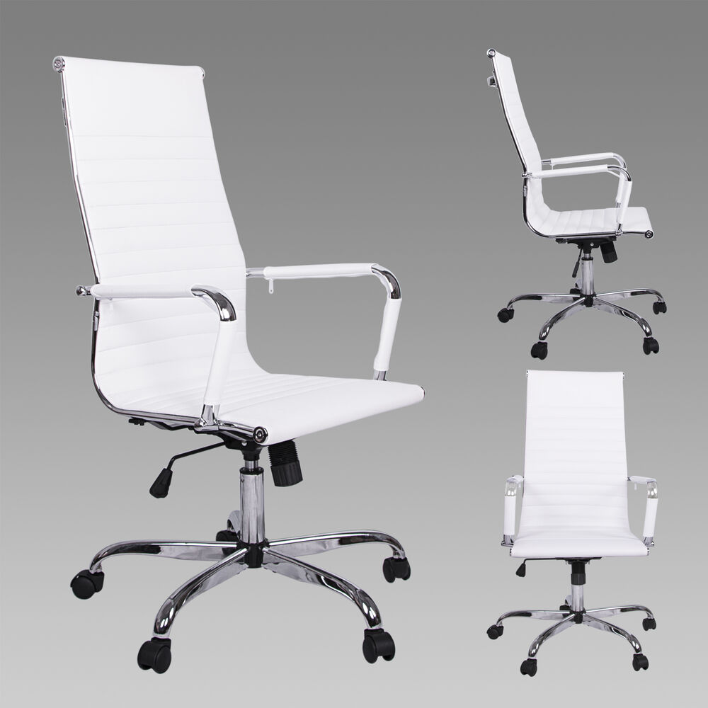 High Back White Modern Upholstered 360 Swivel Adjustable PU Leather Office Ch