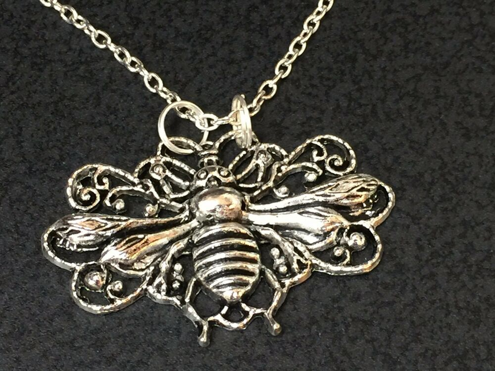 Bee Honey Large Filigree Charm Tibetan Silver Necklace 18 ...