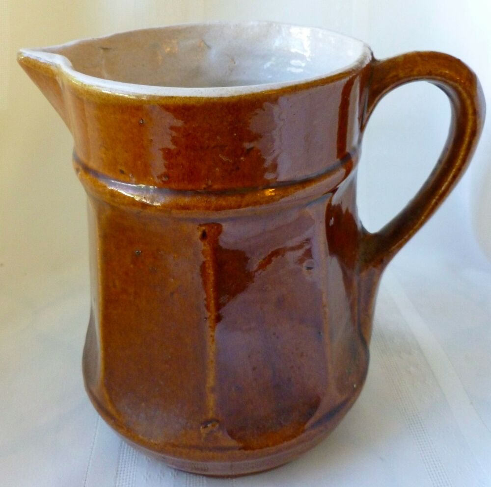 White & Brown Ceramic Pitcher | Chairish |Brown And White Pottery
