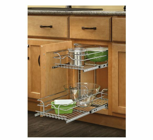 Pull out cabinet kitchen metal basket home 2 tier for Baskets for kitchen cabinets