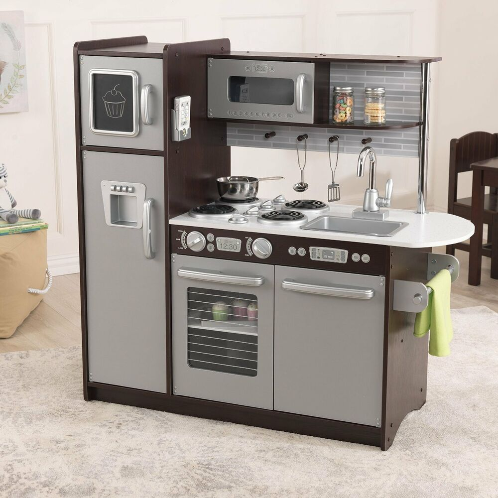 KidKraft PLAY KITCHEN, Uptown Large Modern Wooden TOY KITCHEN, Espresso