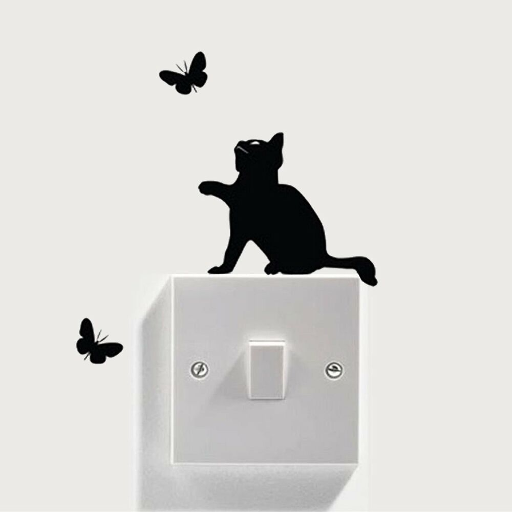 Removable Cat Light Switch Stickers Home Wall Quote Vinyl Art Mural Decor Decals eBay