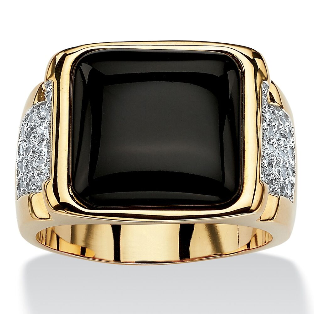 Mens 14k Yellow Gold Black Onyx Cz Gp Cabochon Ring Size 8