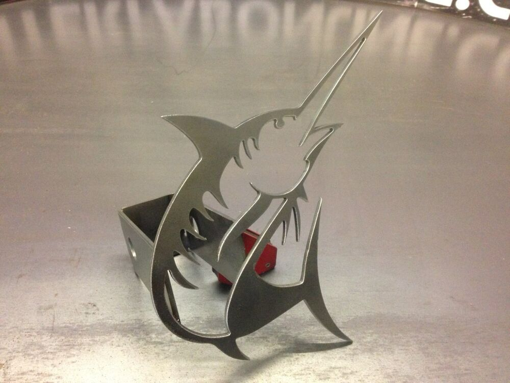 Marlin hitch cover 1 8 steel tow towing reese custom for Fish hitch cover