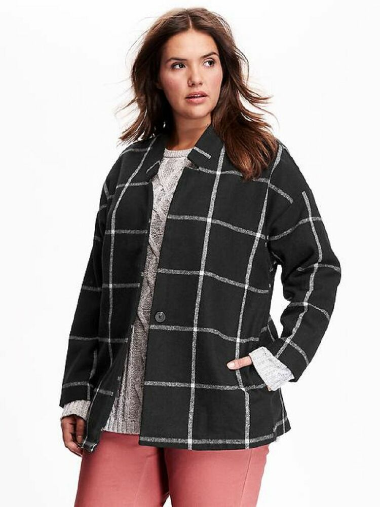 Old Navy Women S Plus Size Jacquard Wool Blend Winter Coat