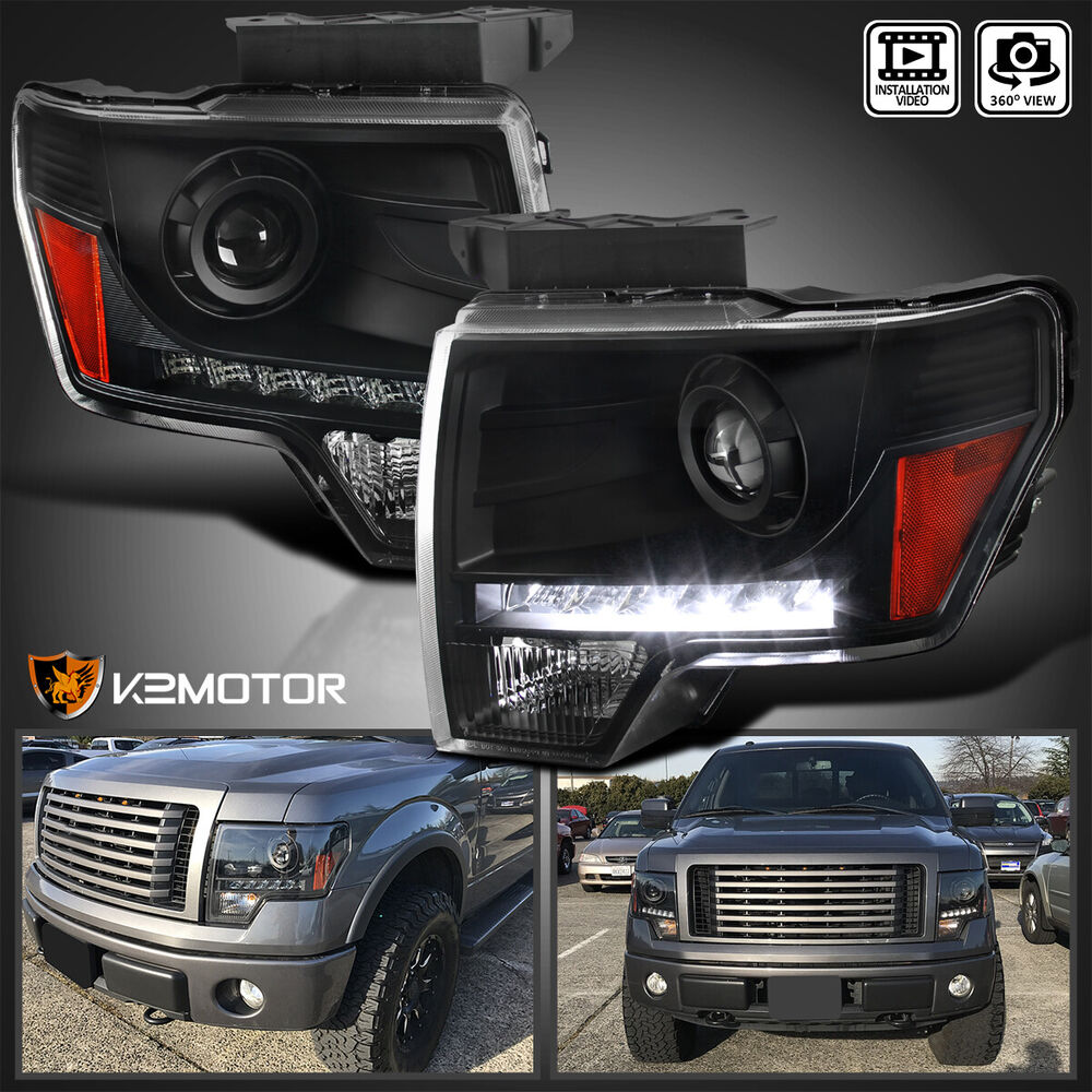 black 2009 2014 ford f150 projector headlights w led. Black Bedroom Furniture Sets. Home Design Ideas