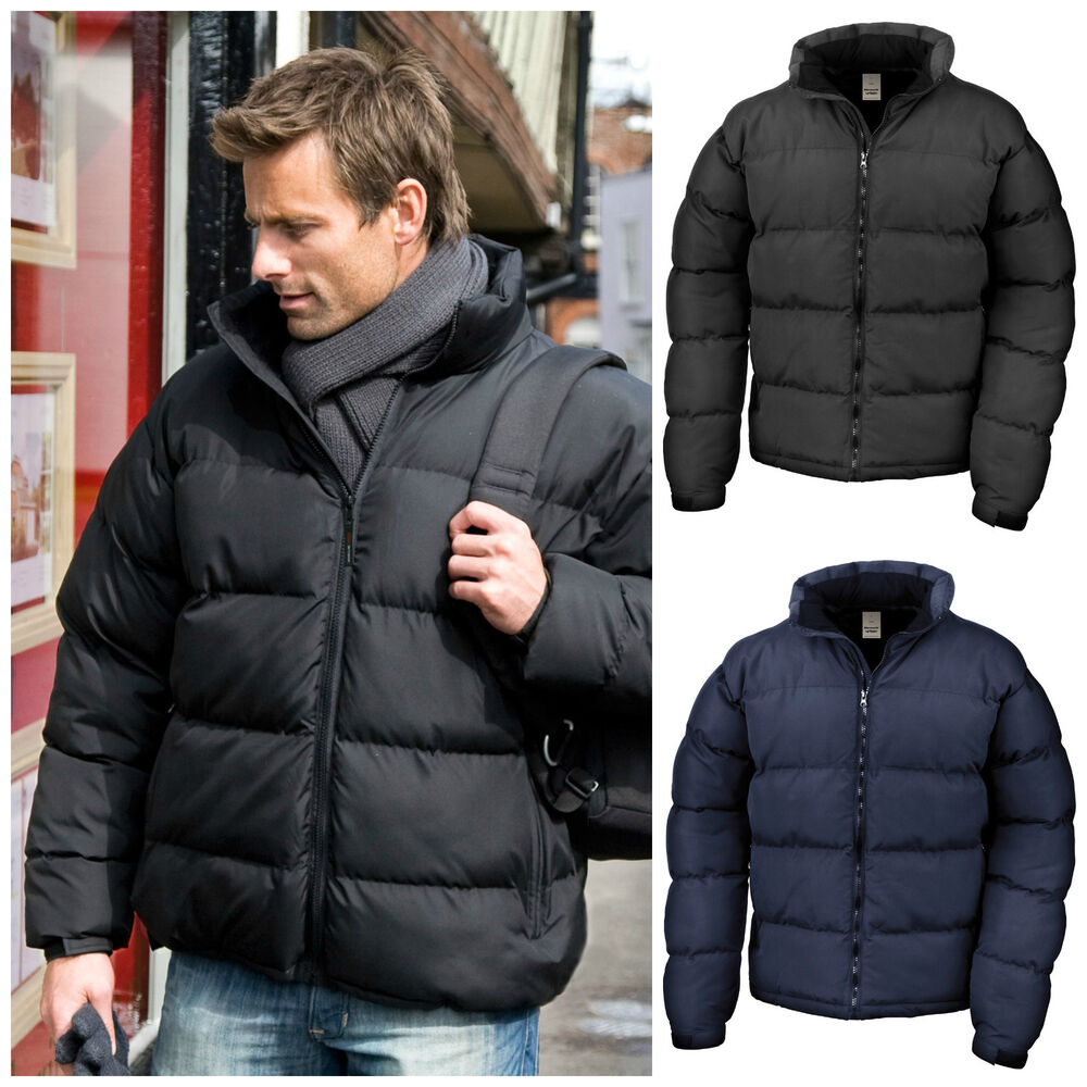 Mens Down Feel Puffer Quilted Padded Coat Jacket Winter