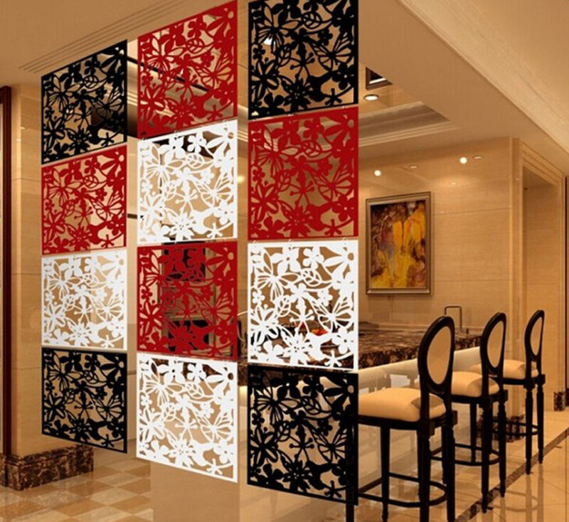 Wall Dividers For Living Room Glass Partition Divider: Wall Sticker Hanging Screen Curtain 4pcs Butterfly Flower Room Divider Partition