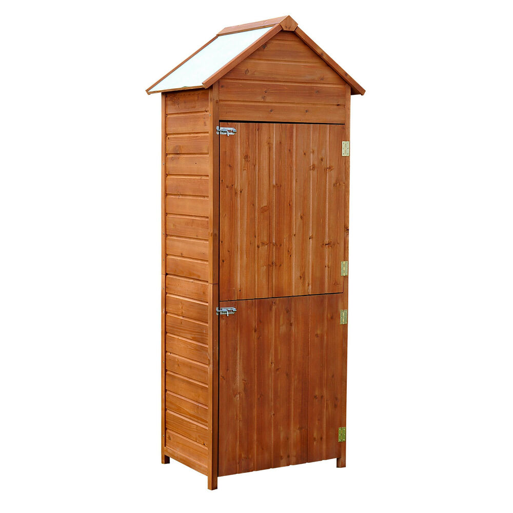 outsunny outdoor patio vertical storage shed wood cabinet unit two doors garden ebay. Black Bedroom Furniture Sets. Home Design Ideas