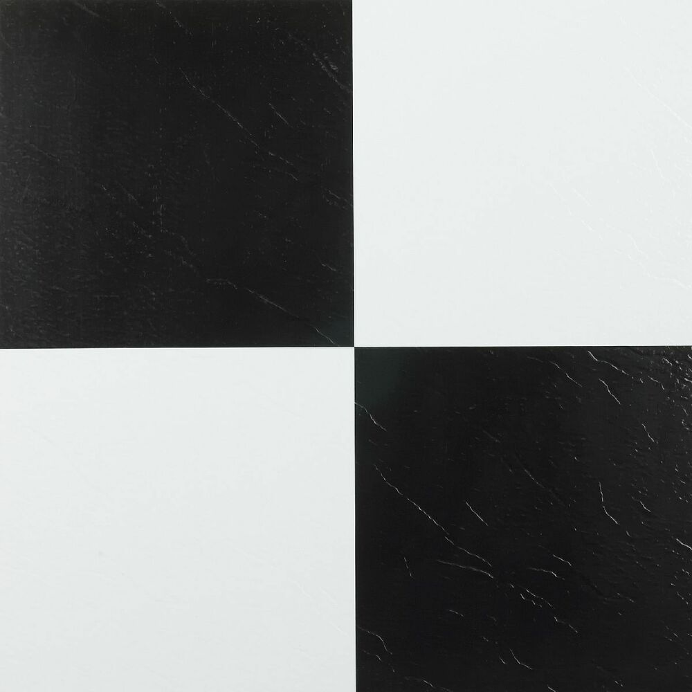 Achim nexus black white 12x12 self adhesive vinyl floor for Black vinyl floor tiles