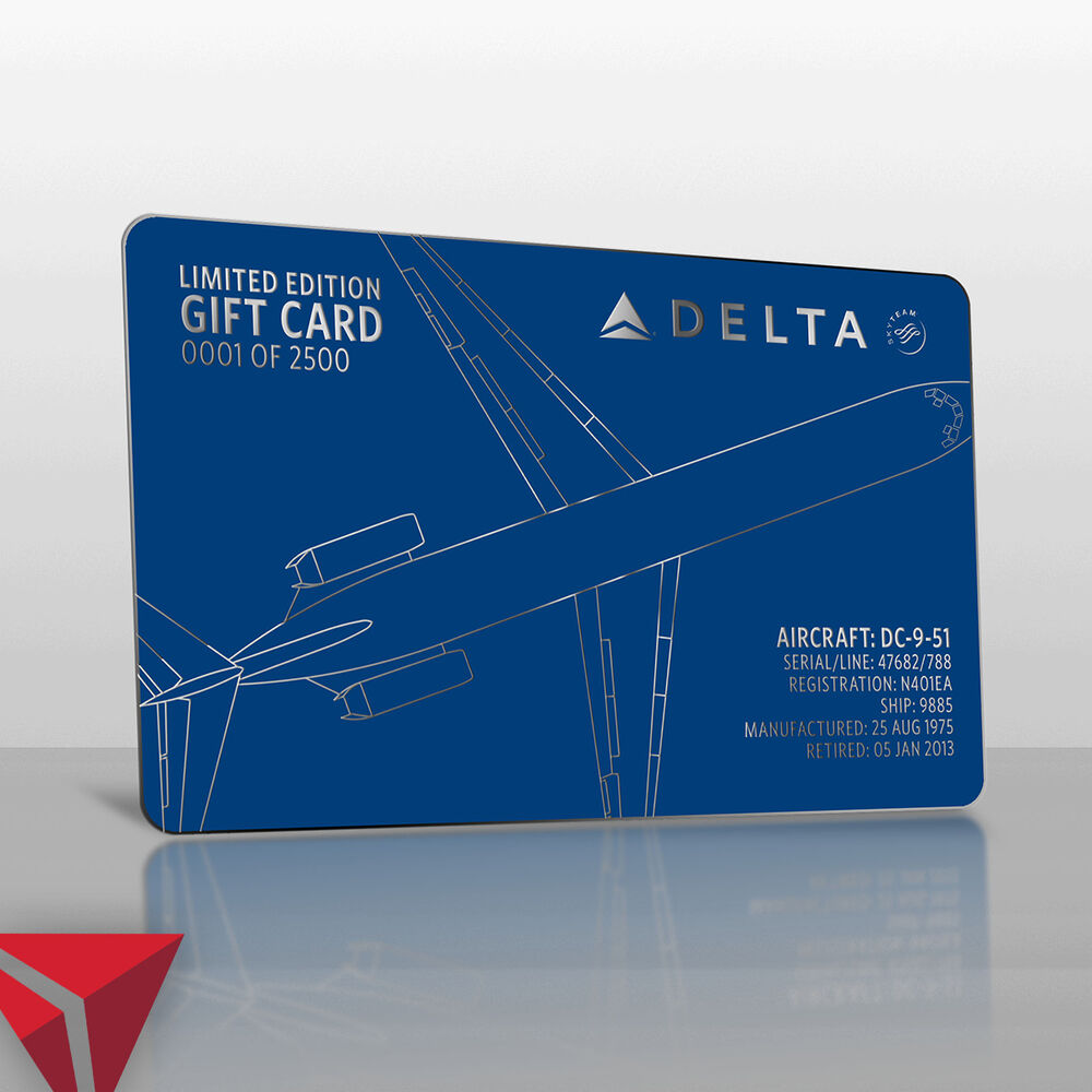 delta e gift card delta air lines limited edition dc 9 gift card 50 gift 9269
