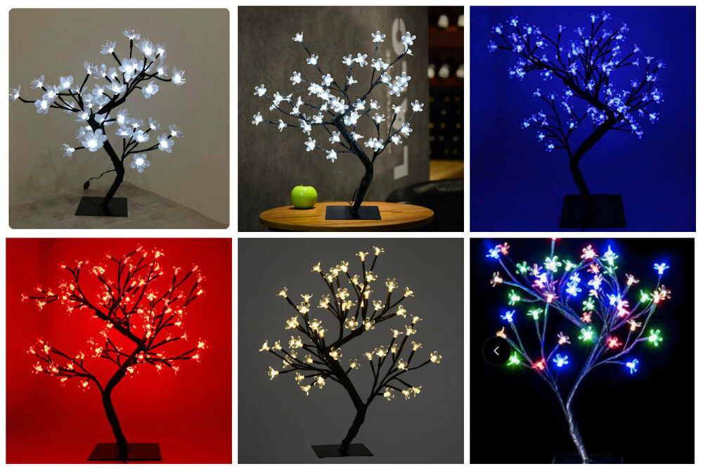 LED Christmas Bonsai Tree Warm White Blue Red Cherry