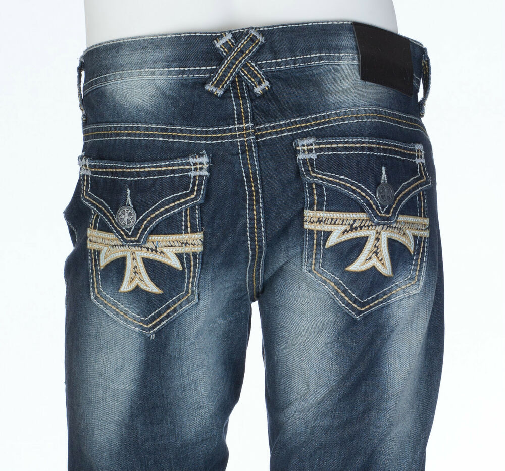Xtreme couture affliction mens denim jeans geo flap cross