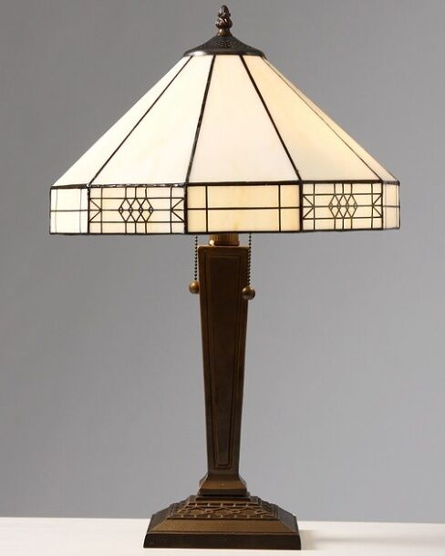 tiffany style mission white table lamp lamps shade decorative desk. Black Bedroom Furniture Sets. Home Design Ideas