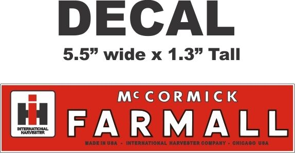 International Harvester Decals And Stickers : Red international harvester ih tractor farmall mccormick