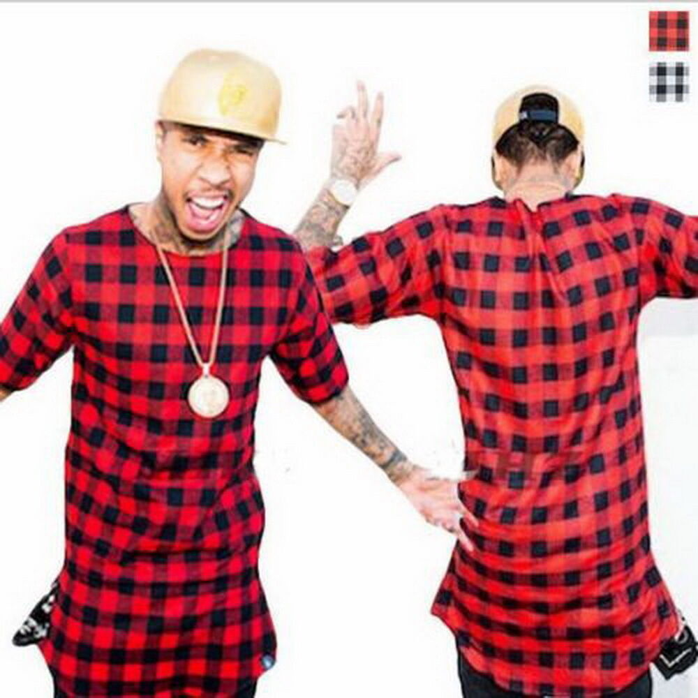long extended hip hop t shirt side zipper swag men streetwear tyga red plaid ebay. Black Bedroom Furniture Sets. Home Design Ideas