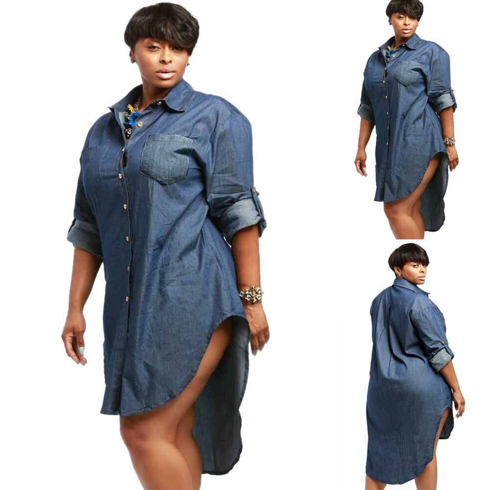 Sexy womens long sleeve denim jeans shirt dress party club Women s long sleeve shirt dress