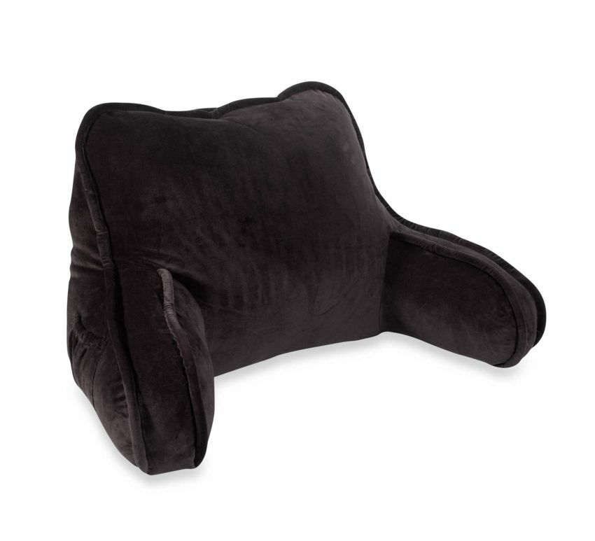 black vintage plush reading tv support pillow backrest With black reading pillow