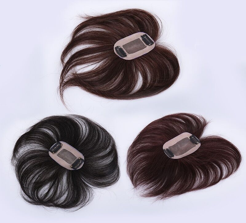 100 Human Hair Replacement Top Piece Wiglet Clip In On