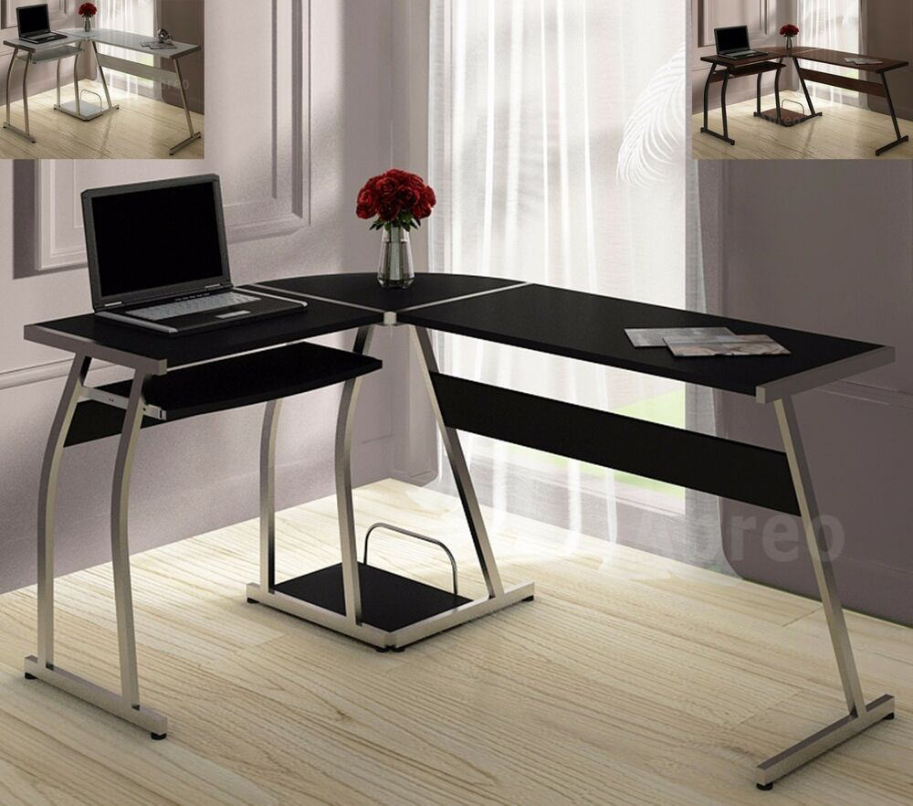 L Shape Corner Computer Pc Desk Table Workstation Home