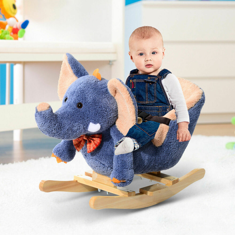 homcom children rocking horse kid rocker baby elephant seat chair w sounds new baby nursery cool bee animal rocking horse