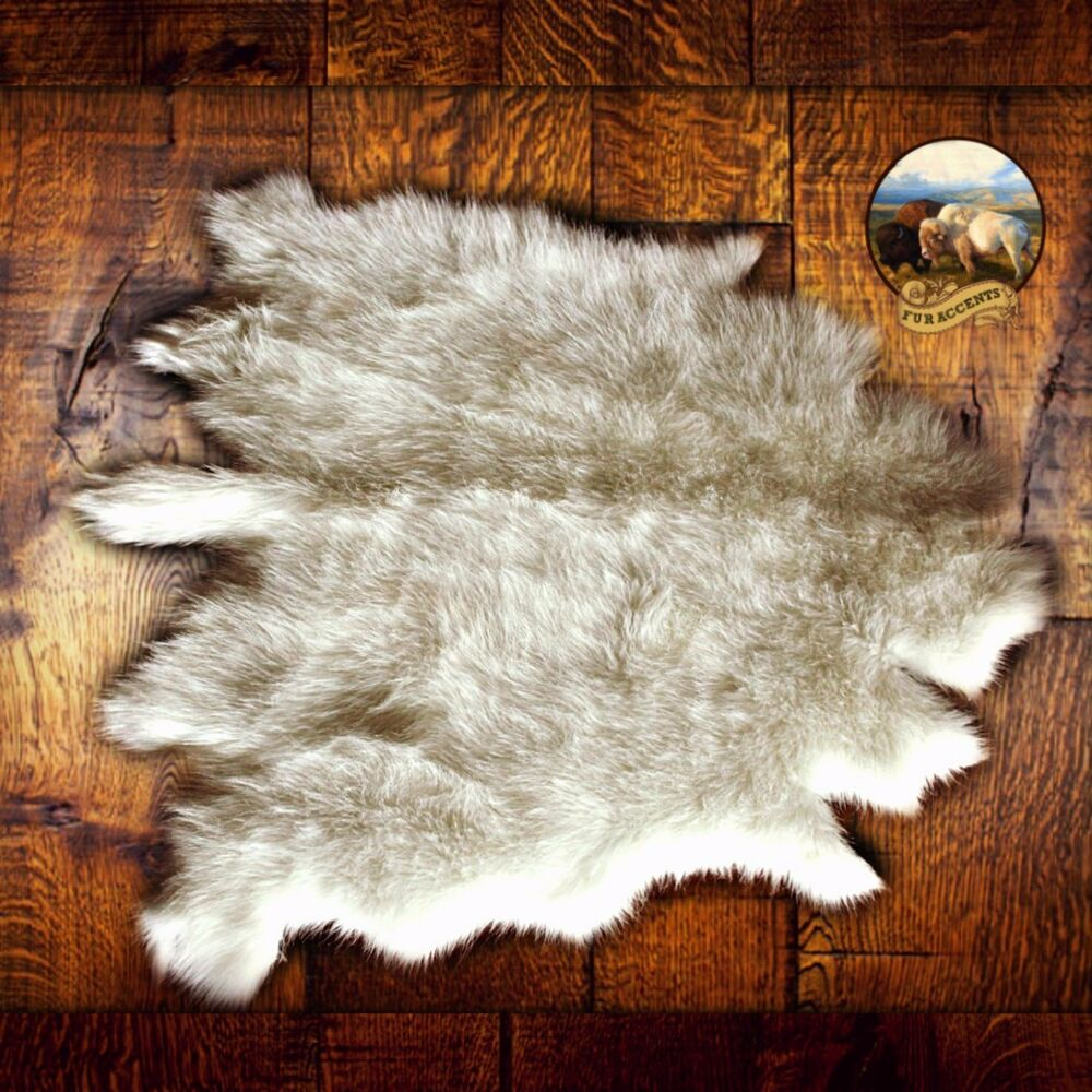 Plush Luxury Fur Buffalo Skin Hide Pelt Rug White Throw