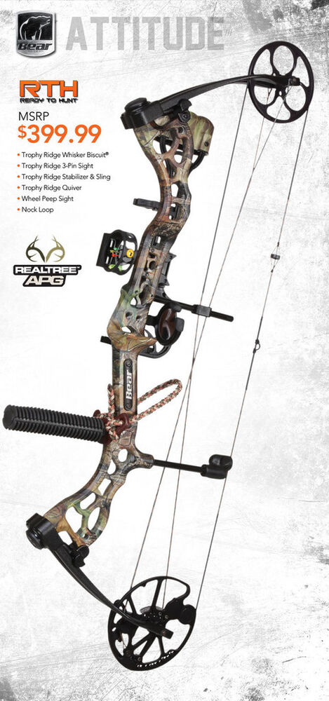 new bear archery attitude rth 60 rh bow package w release 1 2 dz arrows ebay. Black Bedroom Furniture Sets. Home Design Ideas