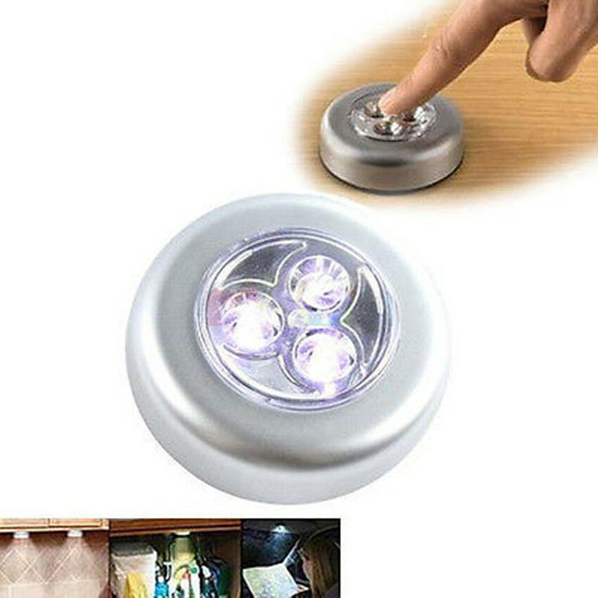 3 Led Light Stick On Tap Touch Light Lamp Battery Powered